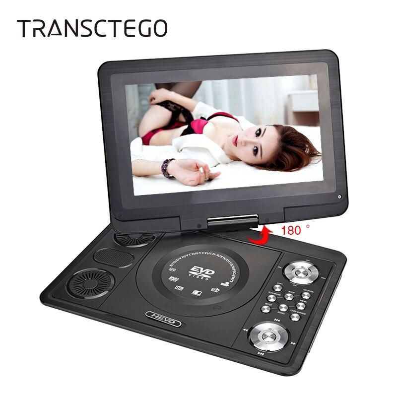 TRANSCTEGO Leitor de DVD Portátil TV 13.9 Polegada Com Casa TV Digital LCD tela Para Carro Usb FM Jogo DVD VCD CD MP3 Anolog Televisão