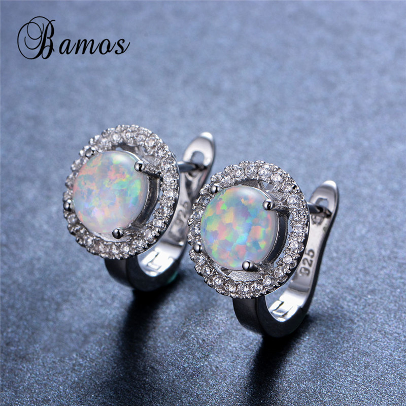 Bamos Sparkling Round AAA Zircon White Fire Opal Hoop Earrings For Women 925 Sterling Silver Filled Bridal Wedding Jewelry Gifts