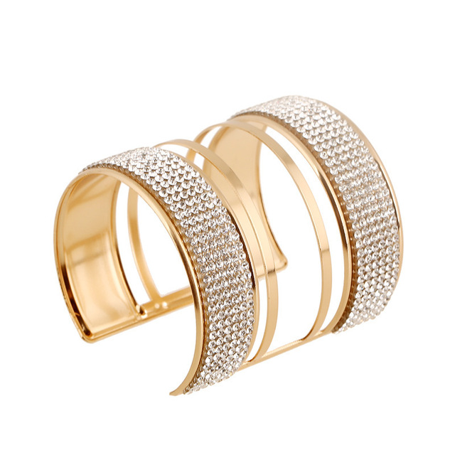 Fashion Acrylic Bead Stretch Bracelet Bangle Shoulders Accessories Wide Gold Cuff Femme Jewelry For Women