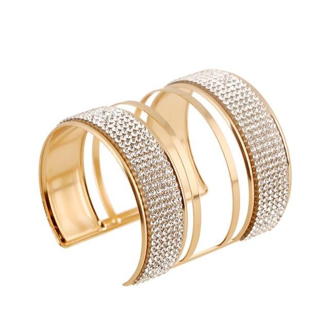Fashion Acrylic Bead Stretch Bracelet Bangle Shoulders Accessories Wide Gold Cuff Femme Jewelry For Women Rquicxm Yw261