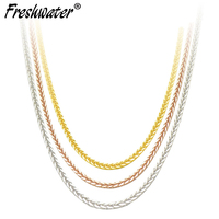 Real ouro 18K Pure Gold Necklace Chain For Women,Wedding 18 inch au750 Necklace Girl