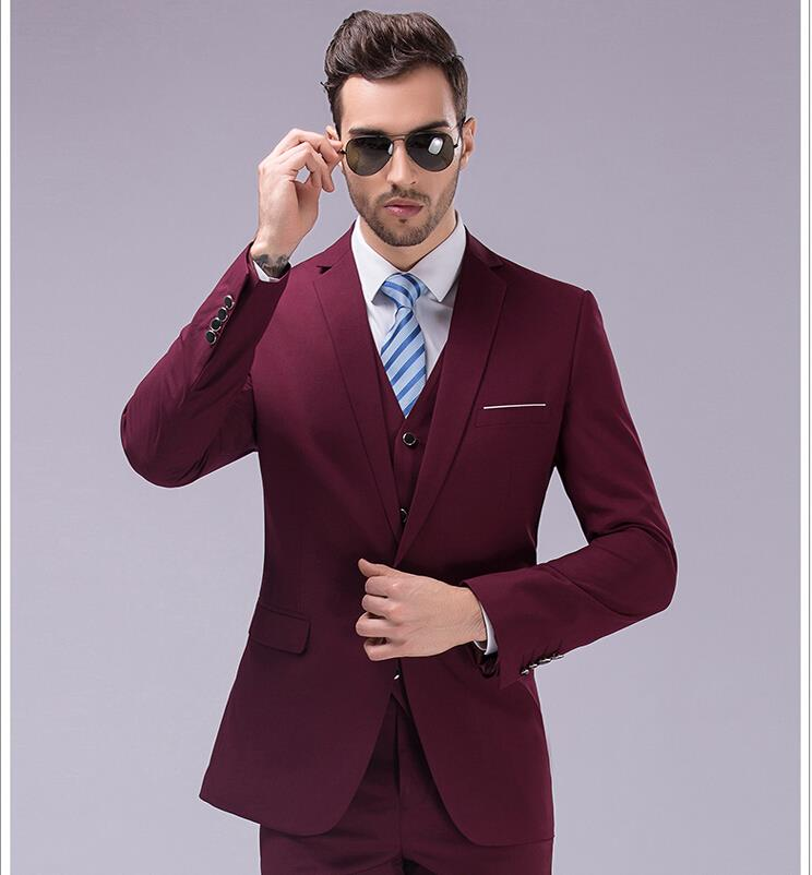 0498fe838ad jacket + pants + vest 2017 new Men s dress color one button suits a slim fit  three piece wedding dress bussines fashion men-in Suits from Men s Clothing  on ...