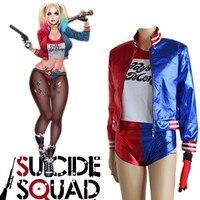 New Batman Suicide Squad Harley Quinn Cosplay Costumes Print Coat+Shirt+Shorts+Gloves