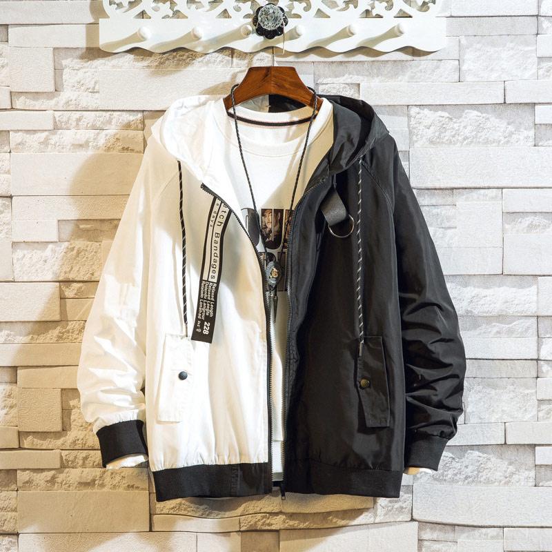 Men\'s Bomber Jacket Colorblock Jacket Fashion Sportswear Casual Jacket Men\'s Hip Hop Street Suit 2020 New Hooded Jacket