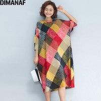 DIMANAF Plus Size Summer Women Dress Basic Cotton Color Plaid Print Dresses Sweet Loose Fashion 2018