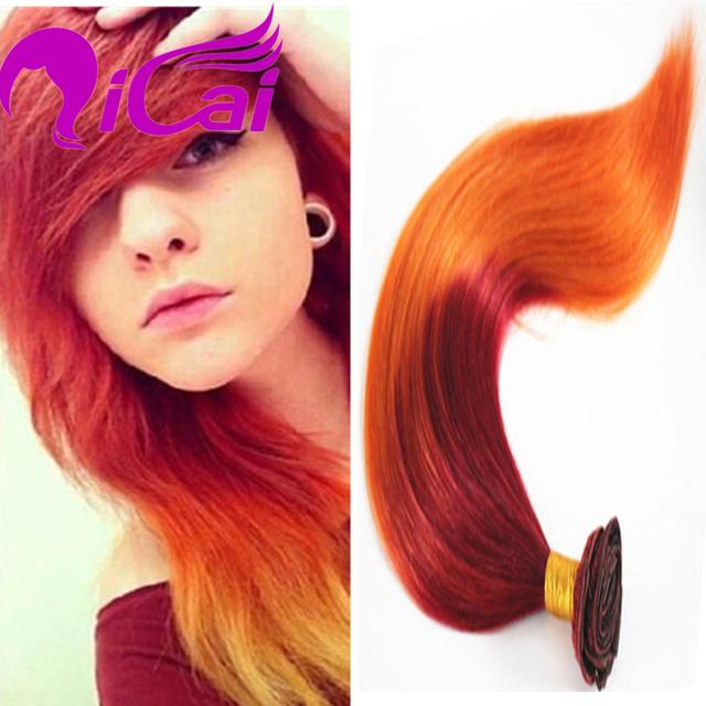 Popular ombre 2 tom burg/orange grampo na extensão do cabelo da malásia Clipe em Humano virgem Remy Reta de Seda Do Cabelo Humano Vermelho cabelo