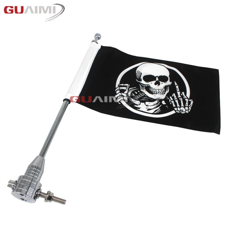 Pour Harley Touring Road King Glide & flht Chrome moto CNC en aluminium support de bagages arrière support de drapeau Vertical
