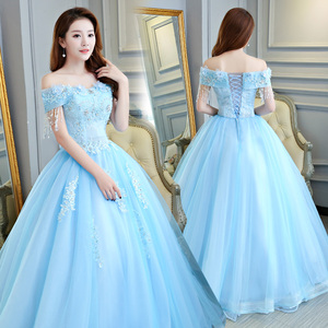 New Arrival Romantic Blue Ball Gown Quinceanera Dresses 2018 Spaghetti Straps Sweetheart Crystal Lace Up Back Custom Made(China)