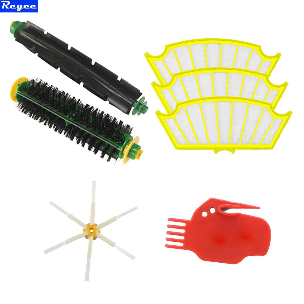 Cleaning tool Set Brush 6 armed and Filter Set Bristle Brush For iRobot Roomba 500 series 530 550 560 570 580 Free Shipping bristle brush flexible beater brush fit for irobot roomba 500 600 700 series 550 650 660 760 770 780 790 vacuum cleaner parts