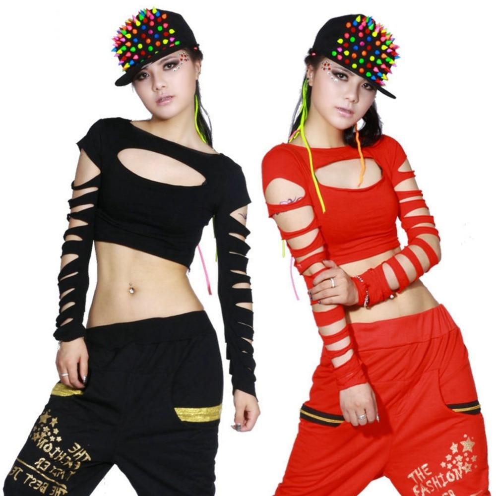 2015 Ny mode dans hip hop kort topp kvinnlig Jazz cutout kostym neon prestanda bärväst Sexig ihålig kostymskjorta