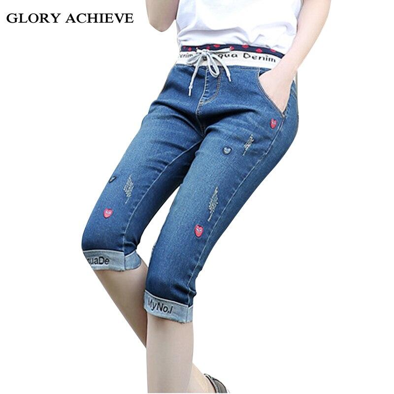 100% Kwaliteit Zomer Vrouwen Jeans Vintage Elastische Taille Skinny Borduren Ripped Jeans Voor Vrouwen Manchetten Kalf-lengte Broek