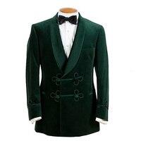 Green Smoking Jacket Velvet Men Suits Wedding Tuxedo Slim Formal Night Men's Costume Homme Smoking Suit Blazer Terno Masculino