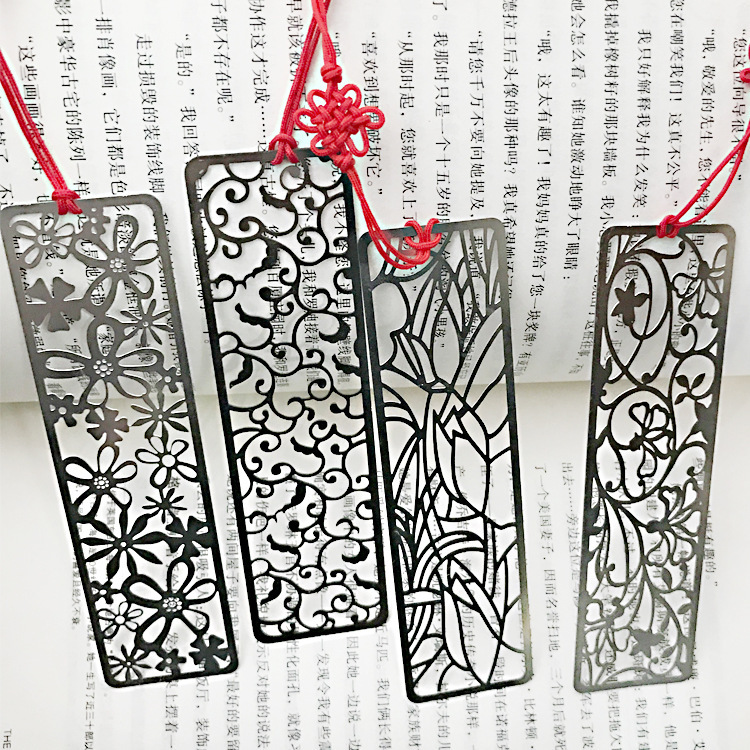 4pcs/lot  Chinese Classical Style Metal Bookmark Merlin Bamboo Chrysanthemum Plum Orchid Vintage  Book Marks