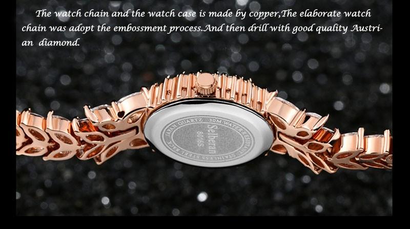 16 50M Waterproof Selberan Gold/Silver Natural Zircon Wrist Watch for Women Luxury Ladies Bracelet Watch Montre Femme Strass 10