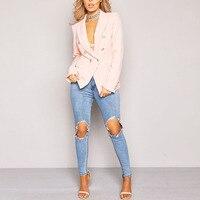 Top Sell Women Top Sell OL Work Elegant Deep V Neck Blazers Buttons Slim Jackets Coat