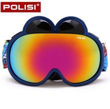 POLISI Winter Snow Skate Ski Goggles Anti-Fog Snow Skiing Glasses Children Kids Outdoor Windproof Snowboard Eyewear