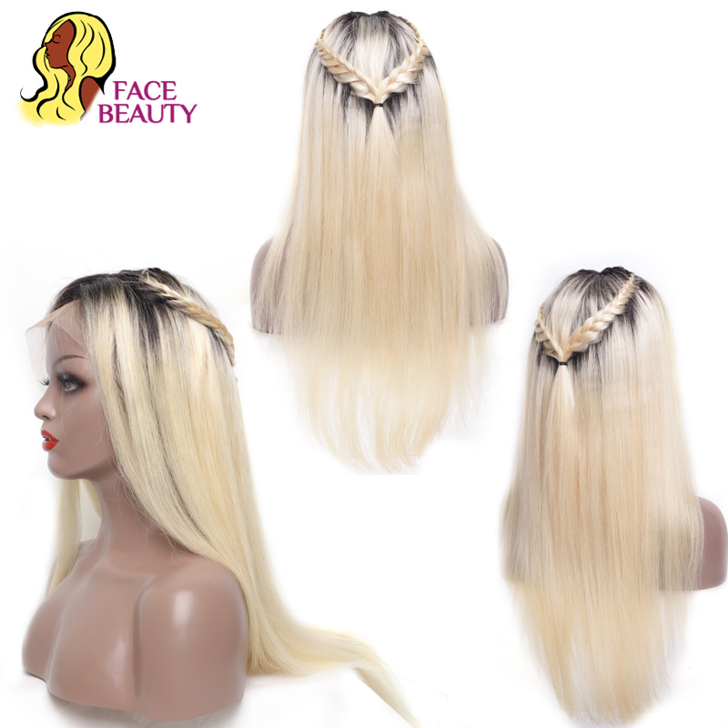 Facebeauty Preplucked Lace Wig Human Hair Half 150% Density 1B 613 Ombre Blonde Straight Malaysian Lace Front Remy Hair Wig Bang