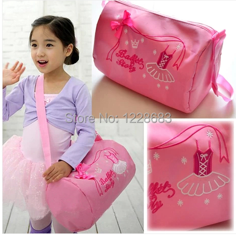 Free Shipping Embroidery Cute Bows Kids Dance Bags Child Girls Ballet Bag