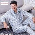 Hot sale Winter long sleeve flannel luxury Mens pajamas Sleepwear male plaid cardigan thick coral fleece warm pyjama home suit