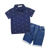 2017 New Fashion Kids Clothes Boys Summer Set Print Shirt Jeans Shorts 2pcs Boys Clothing Sets