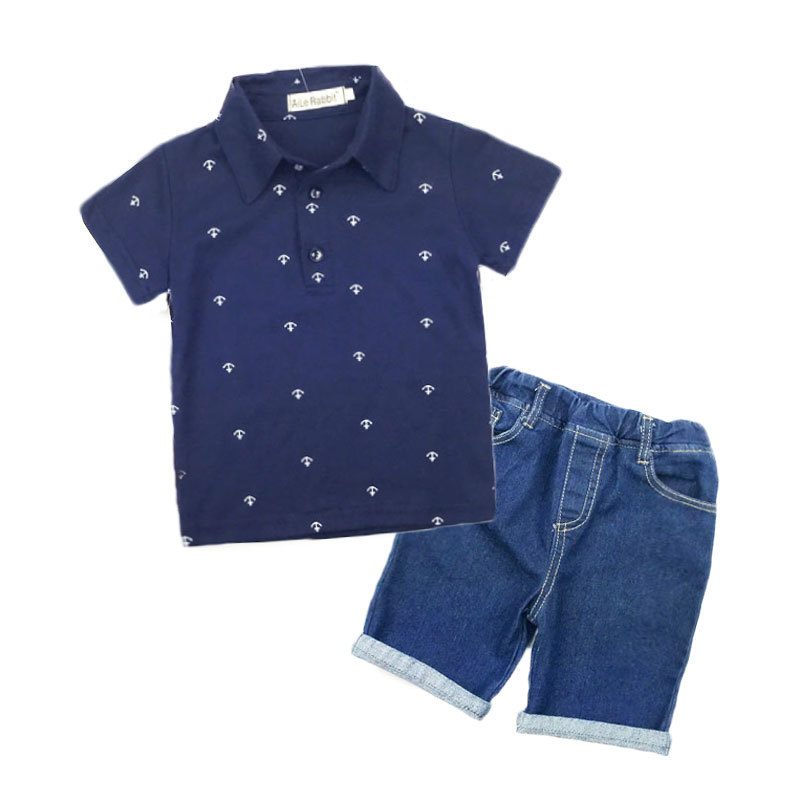 2018 New Fashion Kids Clothes Boys Summer Set Print Shirt Jeans Shorts 2pcs Boys Clothing Sets Toddler Boy Clothes Sets Hsp003