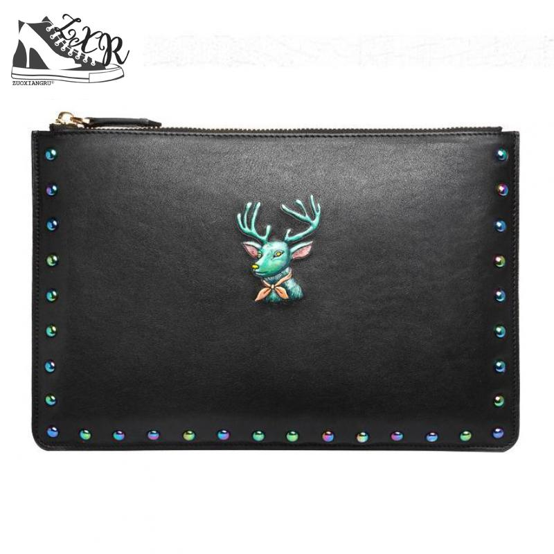 Zuoxiangru New High-end Fashion Leather Handbags The First Layer Of Leather Ladies Handbags Fashion Rivet Envelope Package