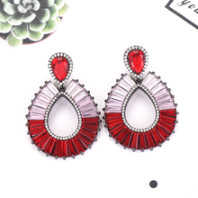 SisCathy Unique Design Clear Red Green Earrings for Women Wedding Holiday Party Occasion Ear Jewelry Accessories