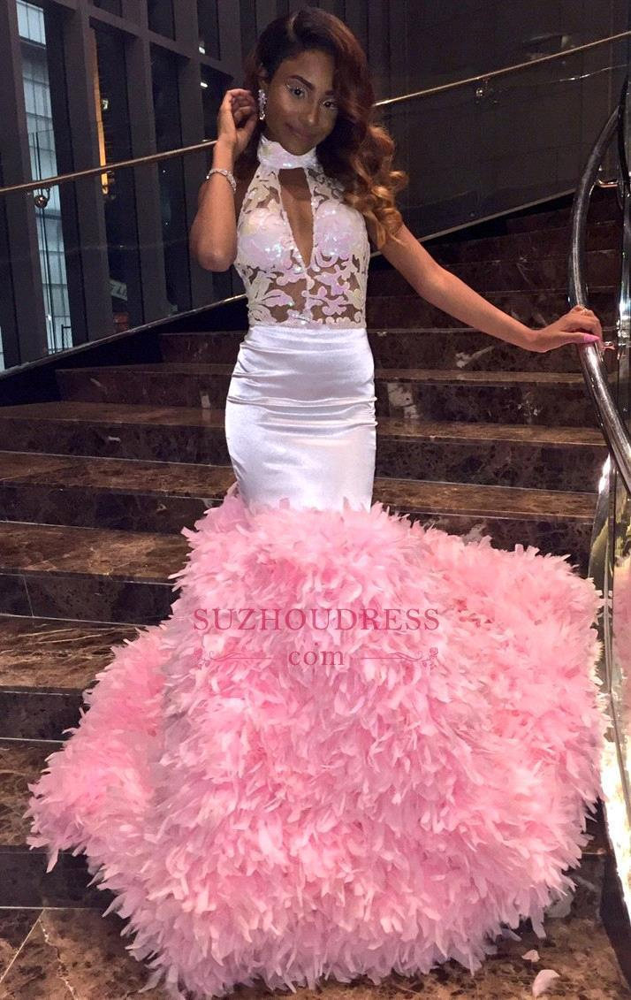 Beautiful Pink Feathers Mermaid Prom Dresses 2019 Sexy Halter African Long Party Dresses Backless Evening Dress vestido de festa