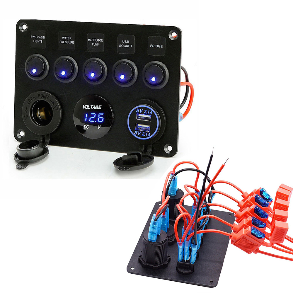 [WLLP_2054]   5 Gang Car LED Rocker Switch Panel Circuit Inline Fuse Box Dual USB Charger  Socket 12V Outlet For Car Marine Boat accessories|Car Switches & Relays| -  AliExpress | 1 Gang Electrical Fuse Box |  | AliExpress