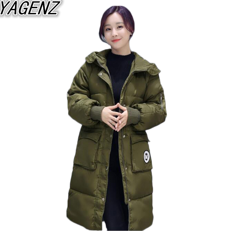 2017 Fashion Large Size Winter Jacket Women Down Cotton Jacket Long Thick Parkas Female Cotton Padded Warm Hooded Coat Outerwear 2017 cheap women winter jacket down cotton padded coats casual warm winter coat turn down large size hooded long loose parkas