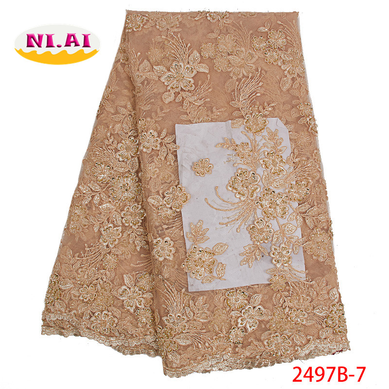 Hot sale african lace fabric for wedding dress 2019 Latest tulle lace fabric for wedding dress handmake beads NA2497B-1