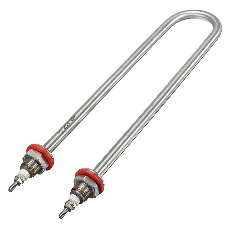 Electric Heating Tube U Style Stainless Steel Water Heater Element AC 220V 2000W Corrosion Resistance Pipe ac 220v 1kw stainless steel electric heating water heater element 15mm thread