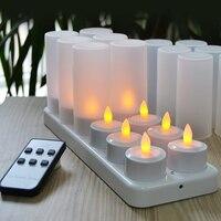 Romantik Amber Sarı Flikering Işık Alevsiz Şarj Edilebilir Çay Işık Mum 12 Set ABS Malzeme