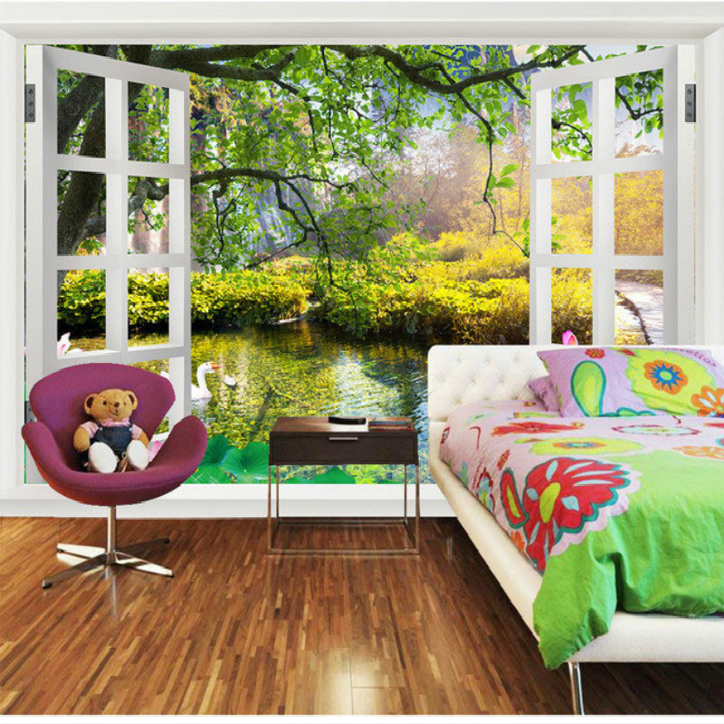 3D large window landscape paintings living room bedroom wall painting mural 3D wallpaper TV backdrop stereoscopic 3D wallpaper landscape 3d ceiling smallpox large mural wallpaper ktv hotel bedroom living room backdrop wallpaper