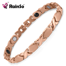 Rainso <font><b>Health</b></font> Titanium Magnetic Energy Bracelets For Women with Germanium Bio Bracelet Rose Gold Plated Mother Gift OTB-1287RG