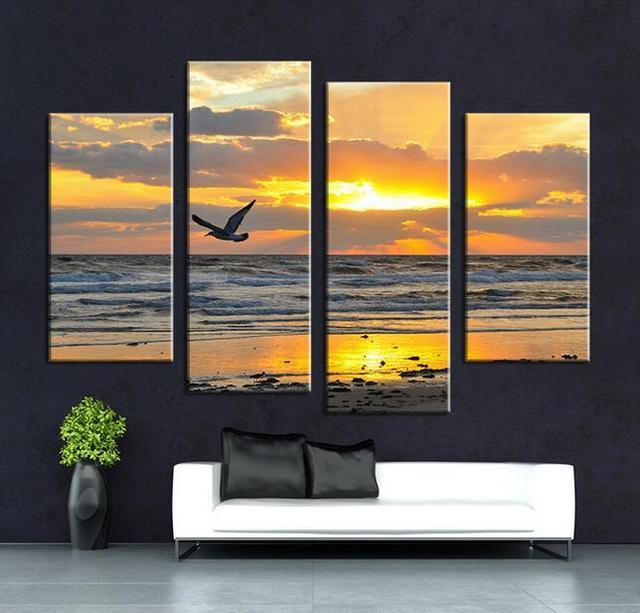 4 P Nube gaviota mar pintura al óleo Arte de La Pared Decoración Del ...