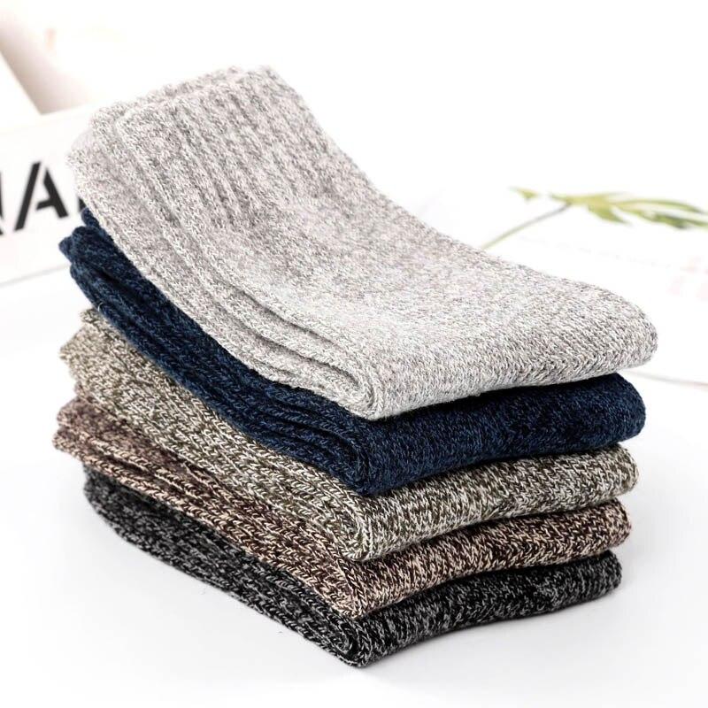 Men's Socks Selfless New Thick Wool Socks 5pairs/lot High Quality Brand Socks Harajuku Classic Business Men Socks Winter Socks Men Skarpetki