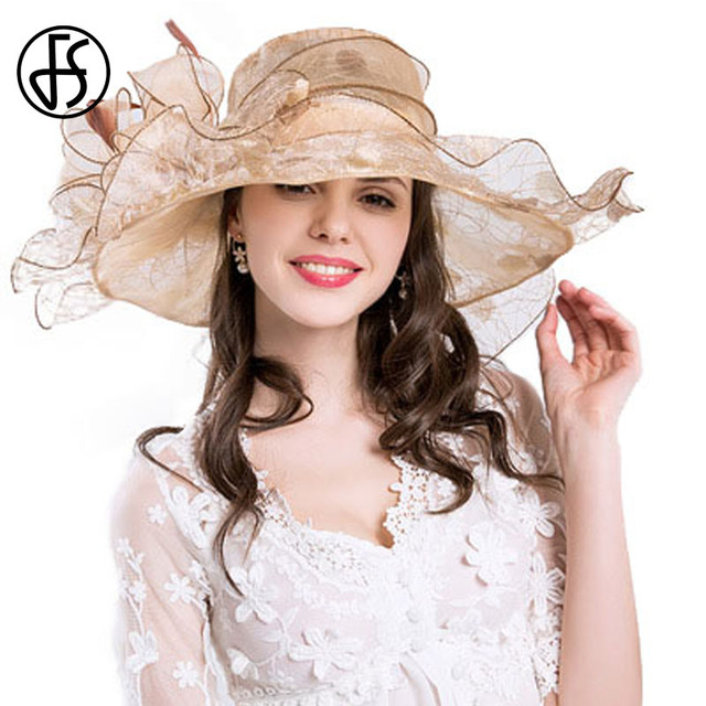cba4a1064954b FS Kentucky Derby Hats For Women Vintage Organza Summer Hat Wide Brim  Elegant Flower Beach Sun