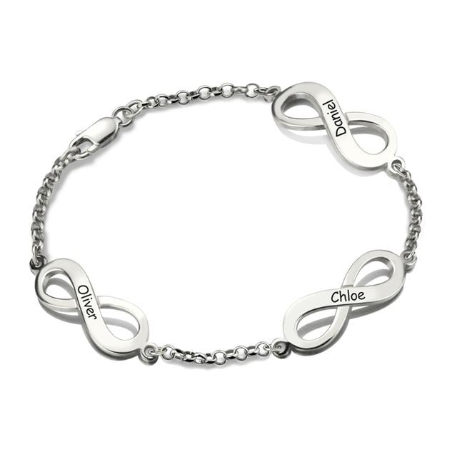 Silver Infinity Bracelet Hand Stamped Brand Name Bracelet Triple Infinity with Names Infinity Symbol Bracelet Mother's Day Gift