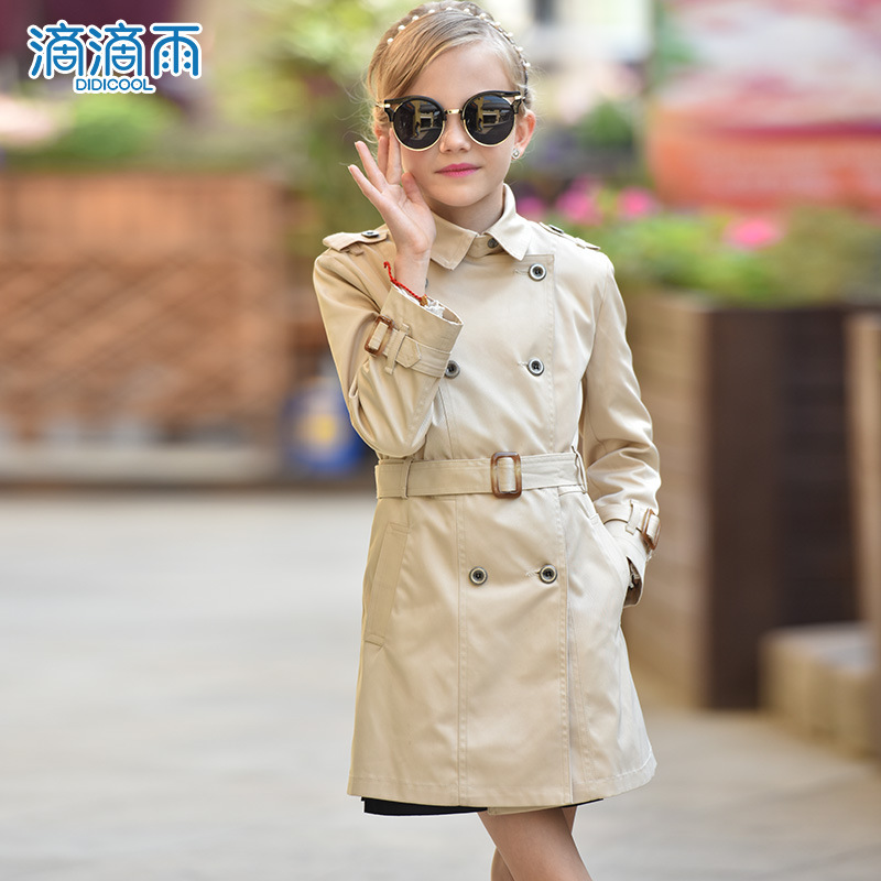 2017 Autumn New Arrival Long Coat For Girls Top Quality Detachable Belt Fashionable Kids Jacket Manteau Fille WL018