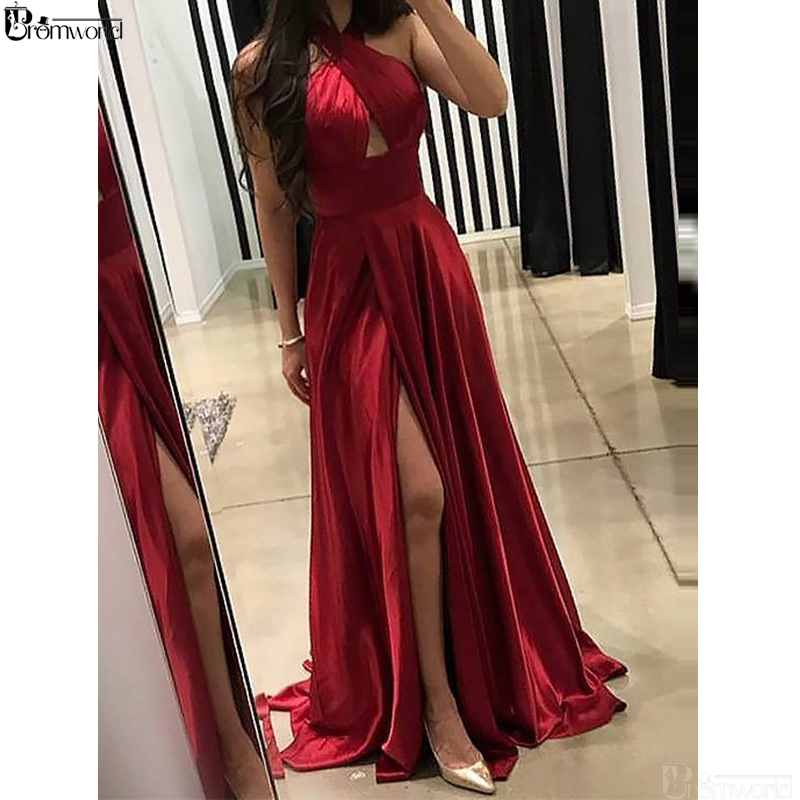 Red Prom Dresses 2019 Pleats Floor-Length Sleeveless Sweep Train Front Slit Evening Dress Party Maxys Simple Long Prom Gown