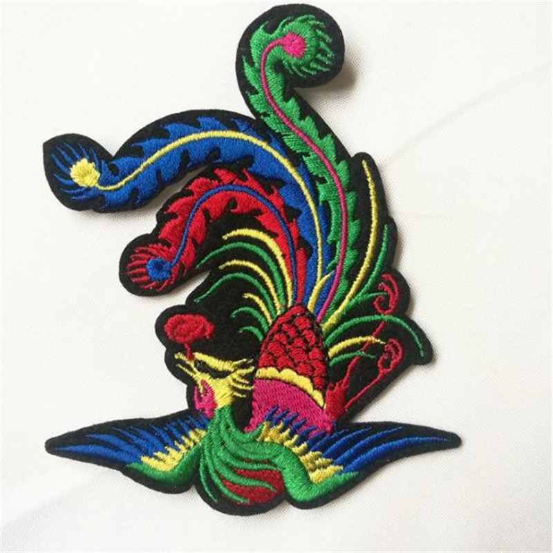 Women boy clothes embroidery patch deal with it 10cm phoenix bird iron on patches for clothing animal stickers free shipping