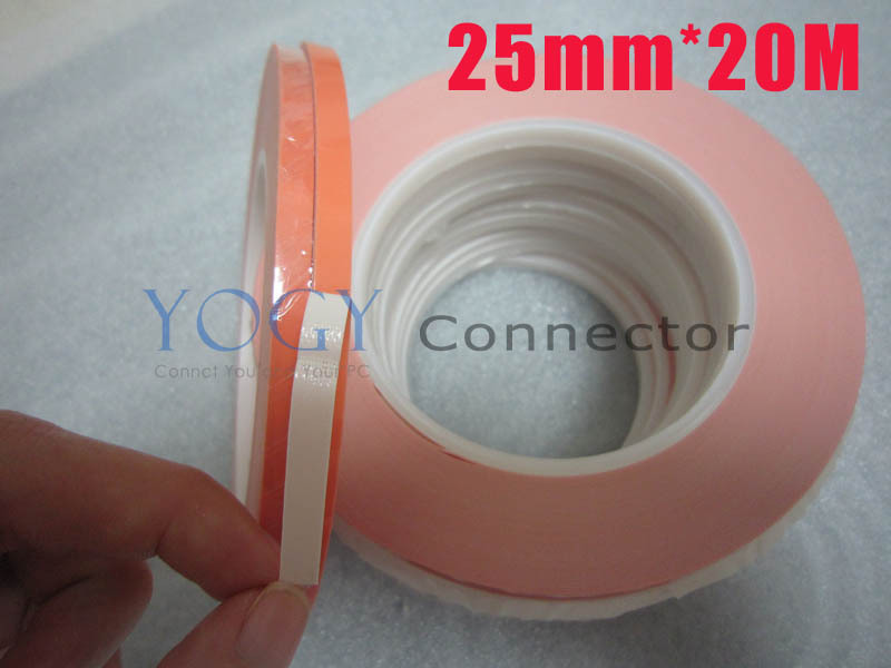 25mm x20M Double Face Adhesive Thermally Conductive Tape for Chip, Soft PCB, LED, Thermal Pads Adhesive 45mm 25m glass fiber thermal double sided adhesive tape thermal thermally conductive tape heat conduction tape for led pcb