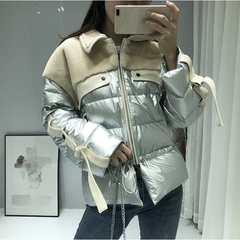 Winter Parka   Coats   Women   Down   Jacket Splice Fur One Outwear Lambswool Jacket Short Female Warm   Down   Gold/Sliver Glossy   Coat