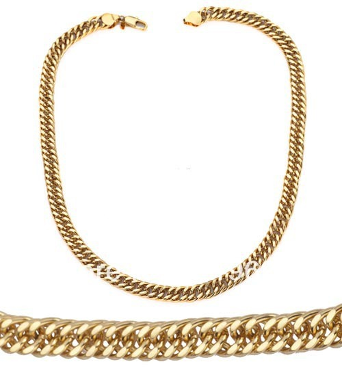 Classic and High Quality Solid 18k Gold Plated Curb Chain Necklace Wholesale