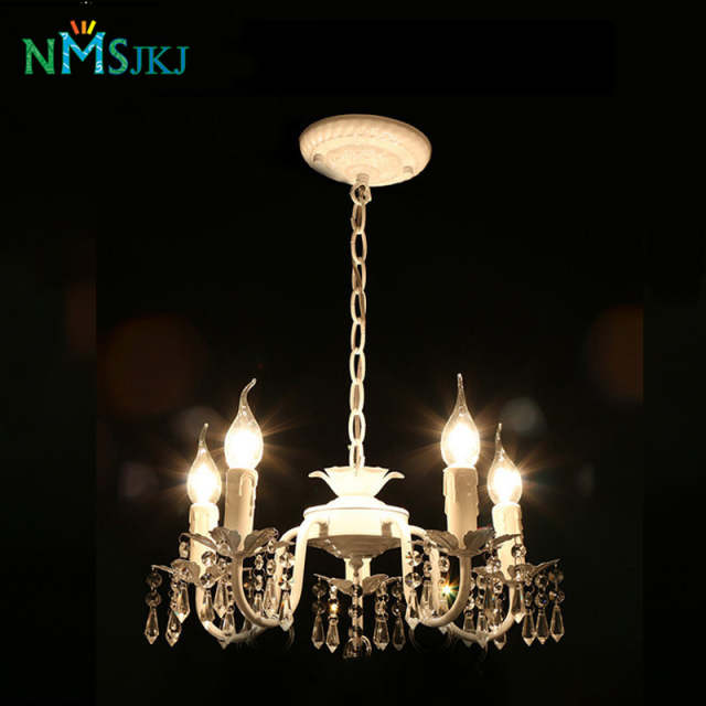 White Iron Crystal Chandelier Modern Lighting Fixture For S Rooms Bedroom Dining Kitchen Island Foyer Led