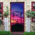 77*200 см фиолетовый закат пейзаж Дверь Наклейка ПВХ самоклеющиеся водонепроницаемые обои домашний декор паста для гостиной спальни наклейки