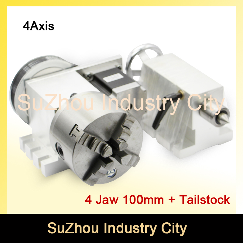 100mm 4 Jaw CNC 4th Axis+Tailstock CNC dividing head/Rotation Axis/A axis kit for Mini CNC router/engraver woodworking engraving best quality nema 34 stepper motor 4 1 k12 100mm 4 jaw chuck 100mm cnc 4th axis a aixs rotary axis tailstock for cnc router