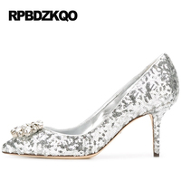 Rhinestone Crystal Wedding Shoes Small Size Ladies Glitter 33 Pumps Pointed Toe 2017 High Heels Scarpin