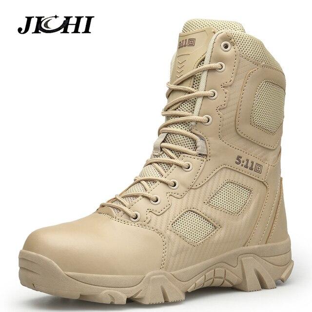 JICHI ビッグサイズ 39-47 砂漠戦術的なメンズ摩耗耐軍ブーツ男性防水屋外ハイキング男性戦闘アンクルブーツ